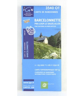 carte IGN TOP 25 3540OT Barcelonnette, Pra Loup, Le Sauze, Allos Parc national du Mercantour