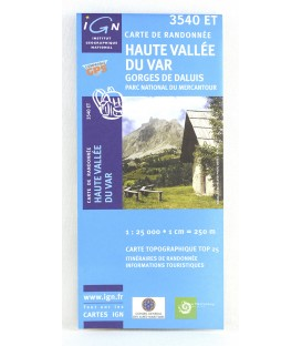 haute vallée du Var, gorges de Daluis, parc national du Mercantour: carte IGN TOP 3540 ET
