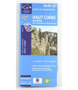 carte IGN TOP 25 3640 OT haut Cians,  Beuil-Valberg, parc national du Mercantour